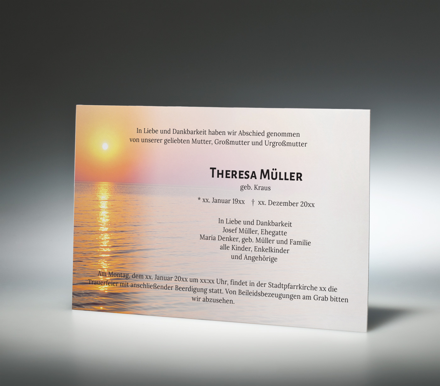 Trauerkarte Sonnenuntergang