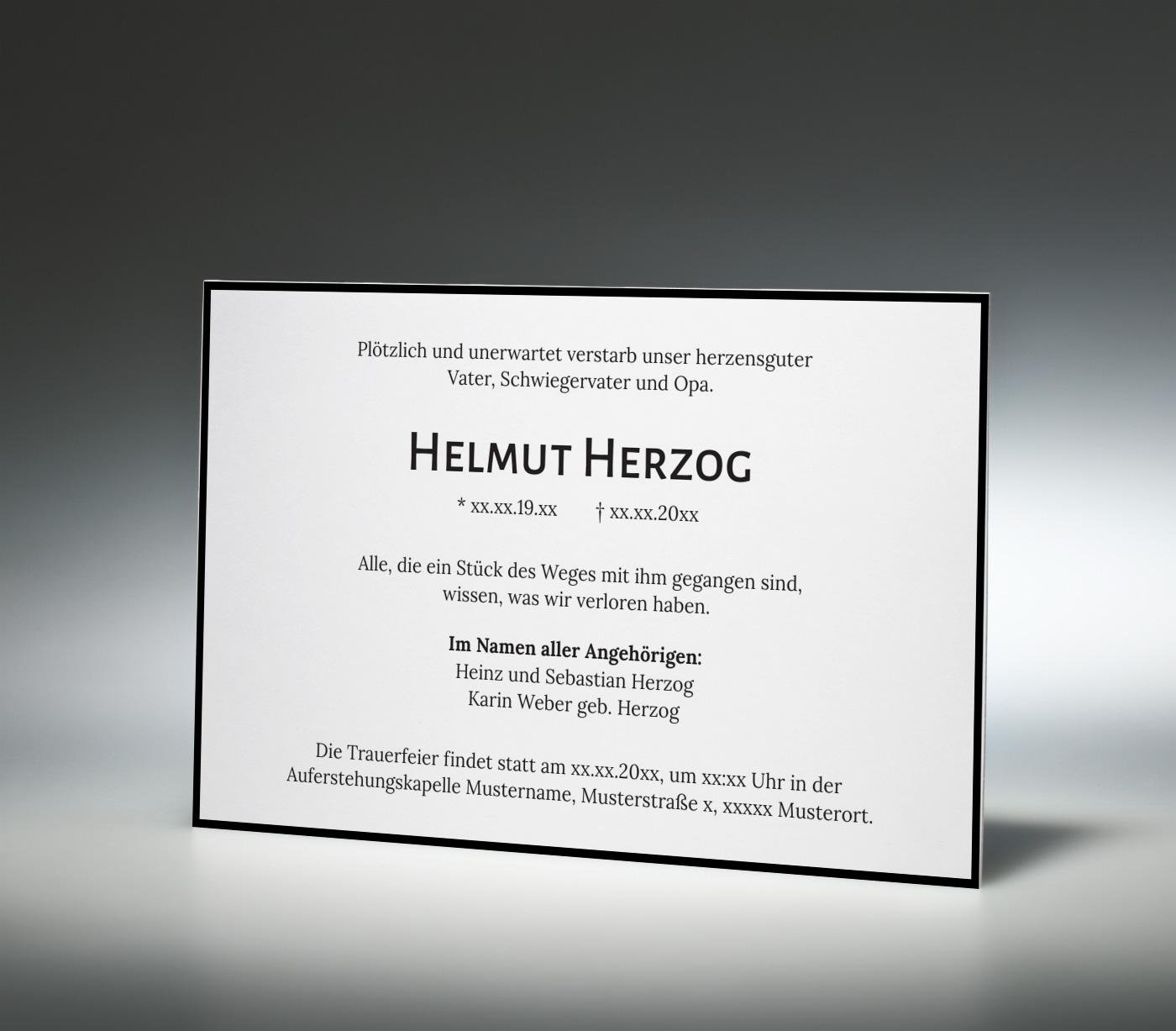trauerkarten online drucken † memento, Einladungen